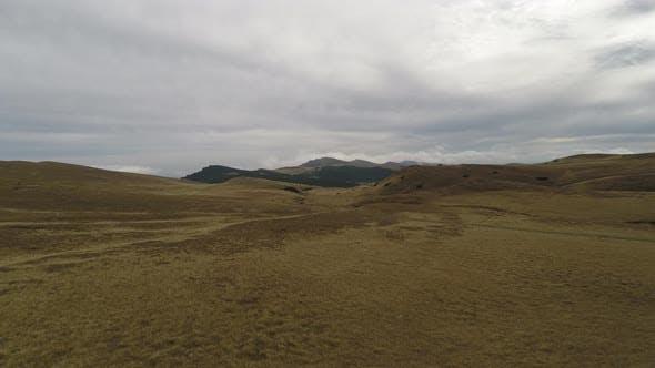 Aerial view of Bucegi Mountains plateau