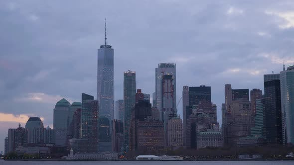 Thumbnail for Manhattan Urban Skyline at Cloudy Evening. New York City. View From the Boat