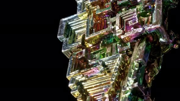 Thumbnail for Macro of the Stone Bismuth Mineral on a Black Background Close Up