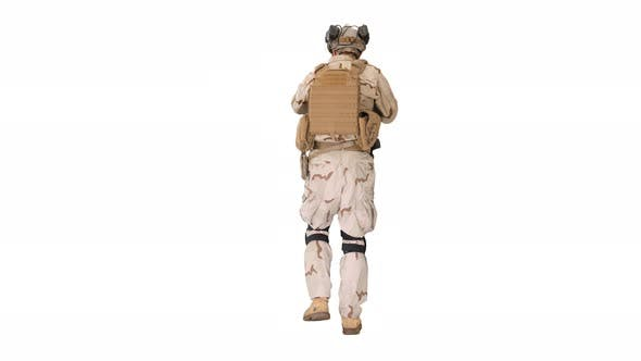 Armed Man in Camouflage with Assault Rifle Looking for a Target on White Background