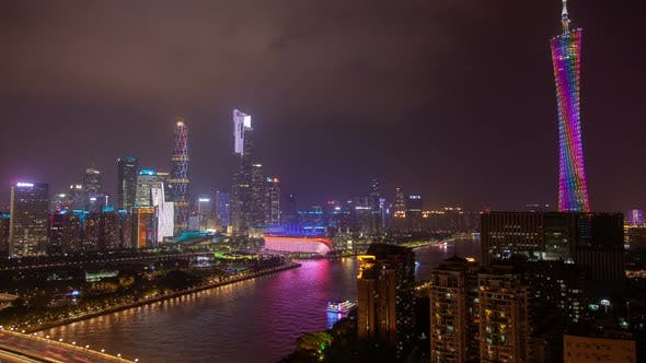 Thumbnail for Guangzhou Cityscape with TV Canton Tower in China Timelapse