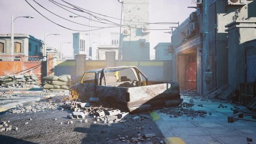 Garbage Dump with Ruined Buildings After Battle