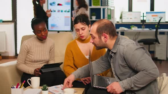 Thumbnail for Confident Company Manager Giving Working Tasks To Diverse Teammates