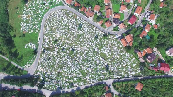 Thumbnail for Aerial view of Bosnian graveyard