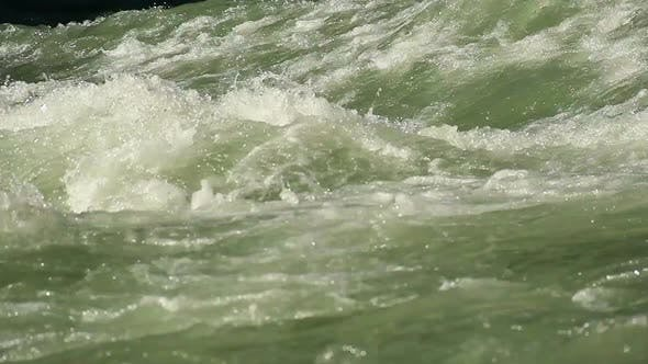 Close-Up Green Water Whirlpool, Mountain Torrent Flowing Rapidly