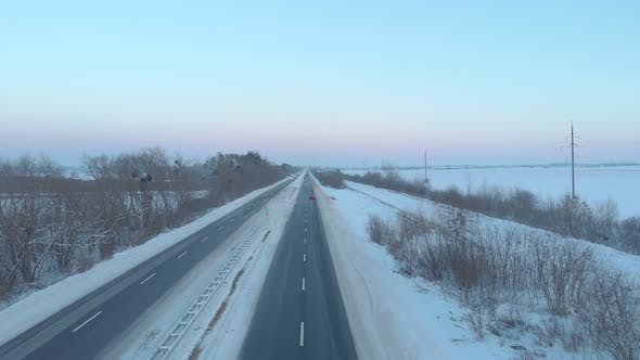 Thumbnail for Cars Driving Country Road Winter