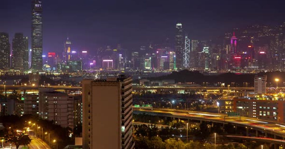 Cityscape Hong Kong City Overpass Roads Buildings at Night