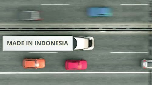 Semitrailer Trucks with MADE IN INDONESIA Text