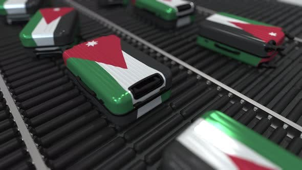 Cover Image for Suitcases Featuring Flag of Jordan on Conveyer