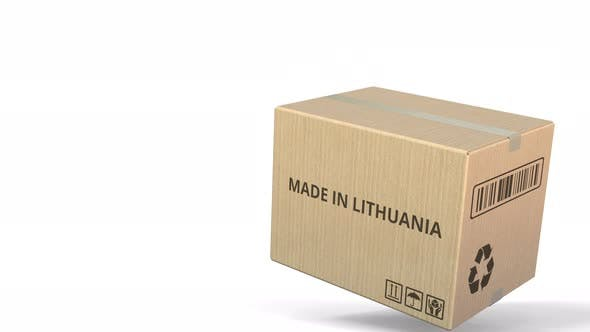 Falling Box with MADE IN LITHUANIA Text