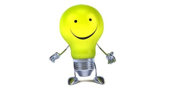 Thumbnail for Fun 3d cartoon light bulb presenting