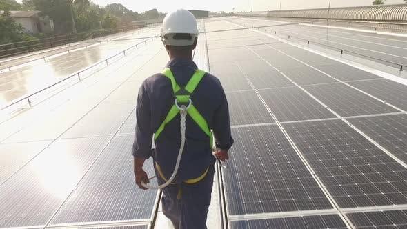 Thumbnail for Worker on Solar Panels Sun