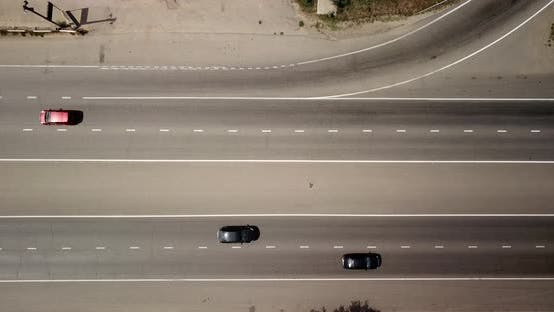 Thumbnail for Top Down View of a Highway Road with Traffic Cars and Trucks on the Road