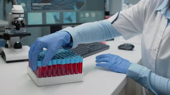 Doctor in Science Laboratory Analyzing Tray of Vacutainers