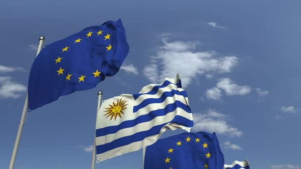 Flags of Uruguay and the European Union