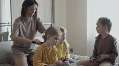 Mom Talks with Daughters at Home