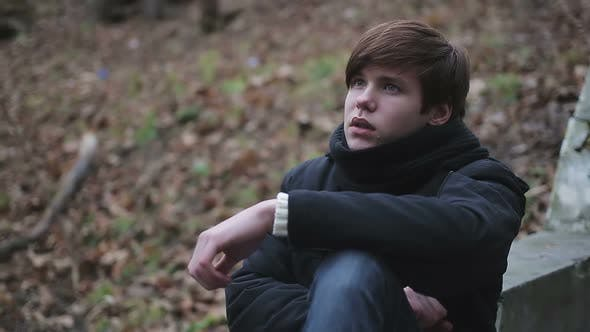 Thumbnail for Depressed Young Man Crying Alone in Park, Having Hysterics over Troubles in Life