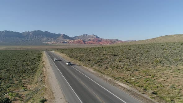 Thumbnail for Aerial view of cars driving in Death Valley