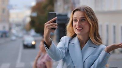Caucasian Girl Video Call in City