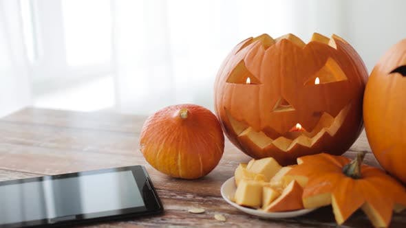 Thumbnail for Halloween Jack-o-lantern Pumpkins with Tablet PC