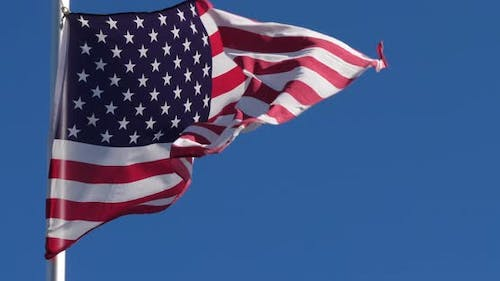 The USA national flag wawing in the wind