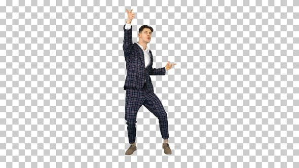 Thumbnail for Happy Successful Businessman Dancing In a Crazy Way, Alpha Channel