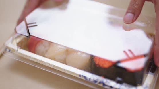 Thumbnail for Japanese Sushi box, open the plastic box