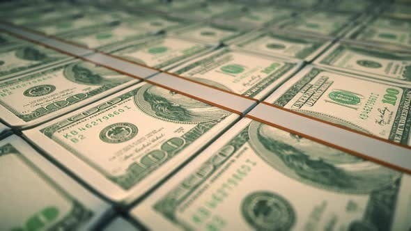 Dollar Money Pack 3d Animation Camera Moving Over The 100 Usd Banknote Bundle Stacks Hd