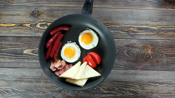 English Breakfast in Frying Pan.