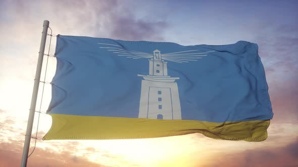 Alexandria Flag City of Egypt Waving in the Wind Sky and Sun Background