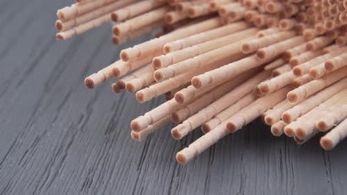 Toothpicks macro shot. Wooden natural remedy for cleaning teeth.