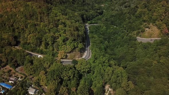 Thumbnail for Aerial View of Winding Mountain Road in Russia.