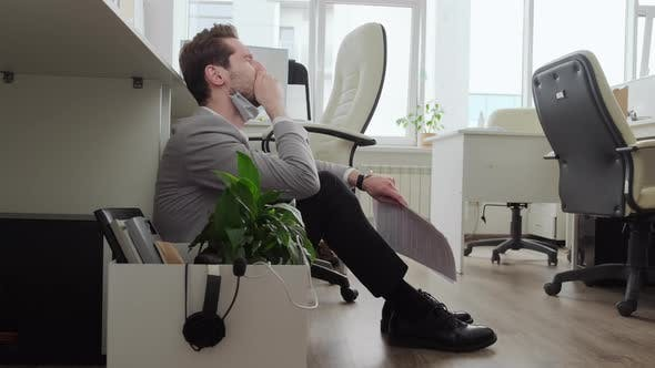 Stressed Entrepreneur Crying in Office during Pandemic