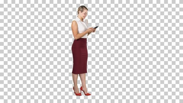 Pretty business woman using cell phone texting something