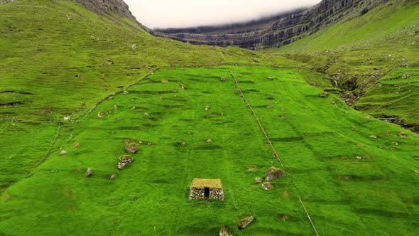 Thumbnail for Aerial view of ancient ruins on archaeological site, Faroe island.