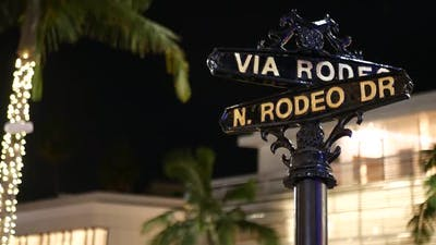 World Famous Rodeo Drive Symbol, Cross Street Sign, Intersection in Beverly Hills. Touristic Los