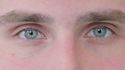 Close Up of Male Blinking Eyes