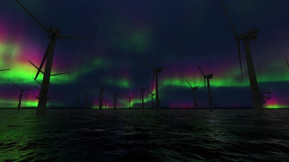 Thumbnail for Wind Farm And Northern Lights Aurora Borealis