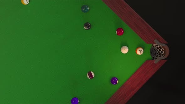 Thumbnail for Billiard Ball Hits the Hole View From Above