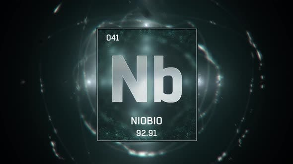 Thumbnail for Niobium as Element 41 of the Periodic Table on Green Background in Spanish Language