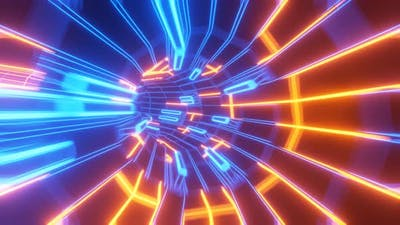Abstract wireframe tunnel of blue-orange color. The speed of light tunnel