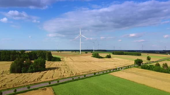 Big Windmills From Drone in Summer