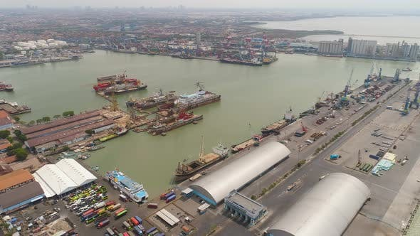 Cargo and Passenger Seaport in Surabaya Java Indonesia