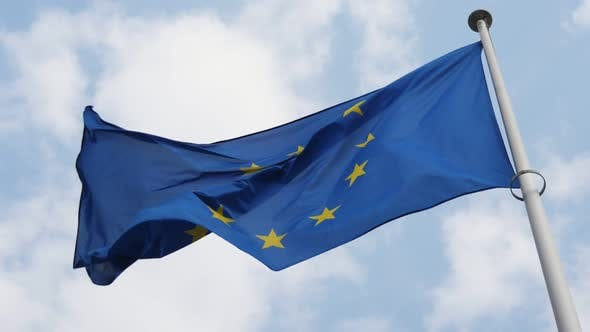 Cover Image for Solemn EU Flag Fluttering in Brussels As a Symbol of Freedom in Spring in Slo-mo