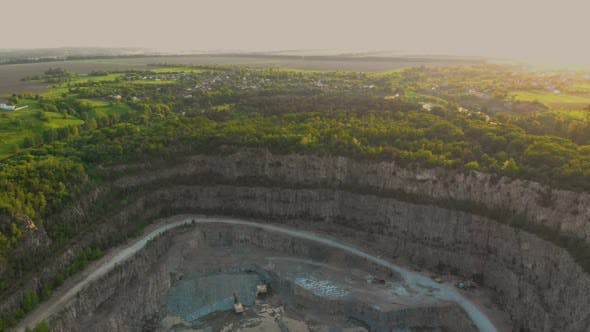 Aerial Drone View of Career in Europe, Crushed Stone Quarry at Summer Sunset