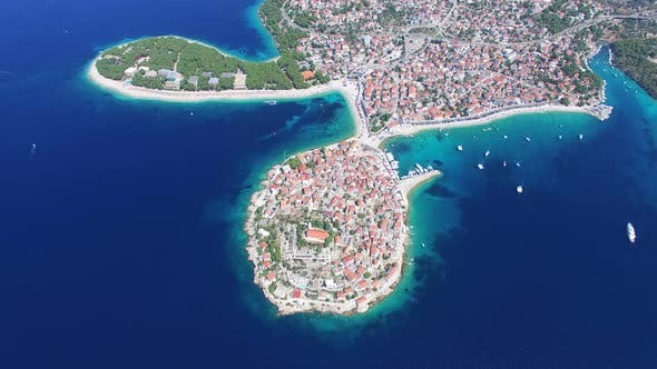 Thumbnail for View from above of touristic destination city of Primosten on peninsula, Croatia
