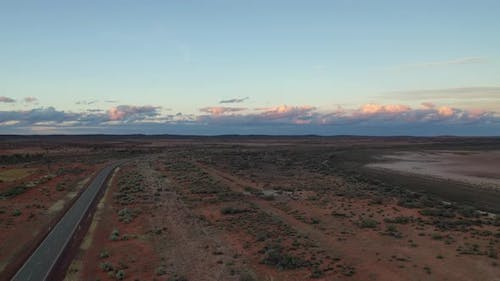 Aerial Drone Footage of Outback Australia at Sunset in Meekatharra, Western Australia