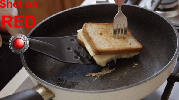 Thumbnail for Sandwich On A Frying Pan With Toast Bread And Cheese