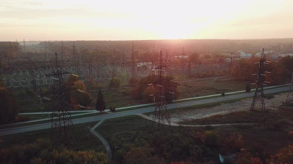 Thumbnail for High Voltage Lines Outside the City at Sunset