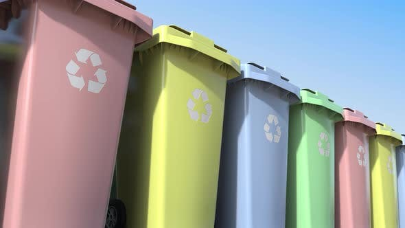Cover Image for Multicolor Trash Containers with Wheels
